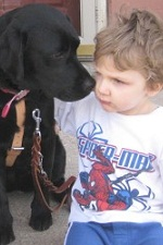 Photo of Children's visual companion dog Lilly with Valentino