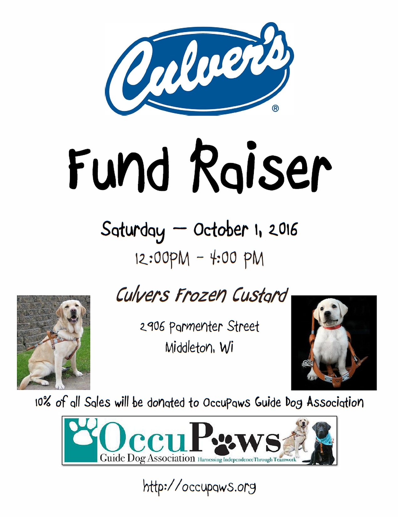 Culver's Share Day for OccuPaws @ Culver's Frozen Custard | Middleton | Wisconsin | United States