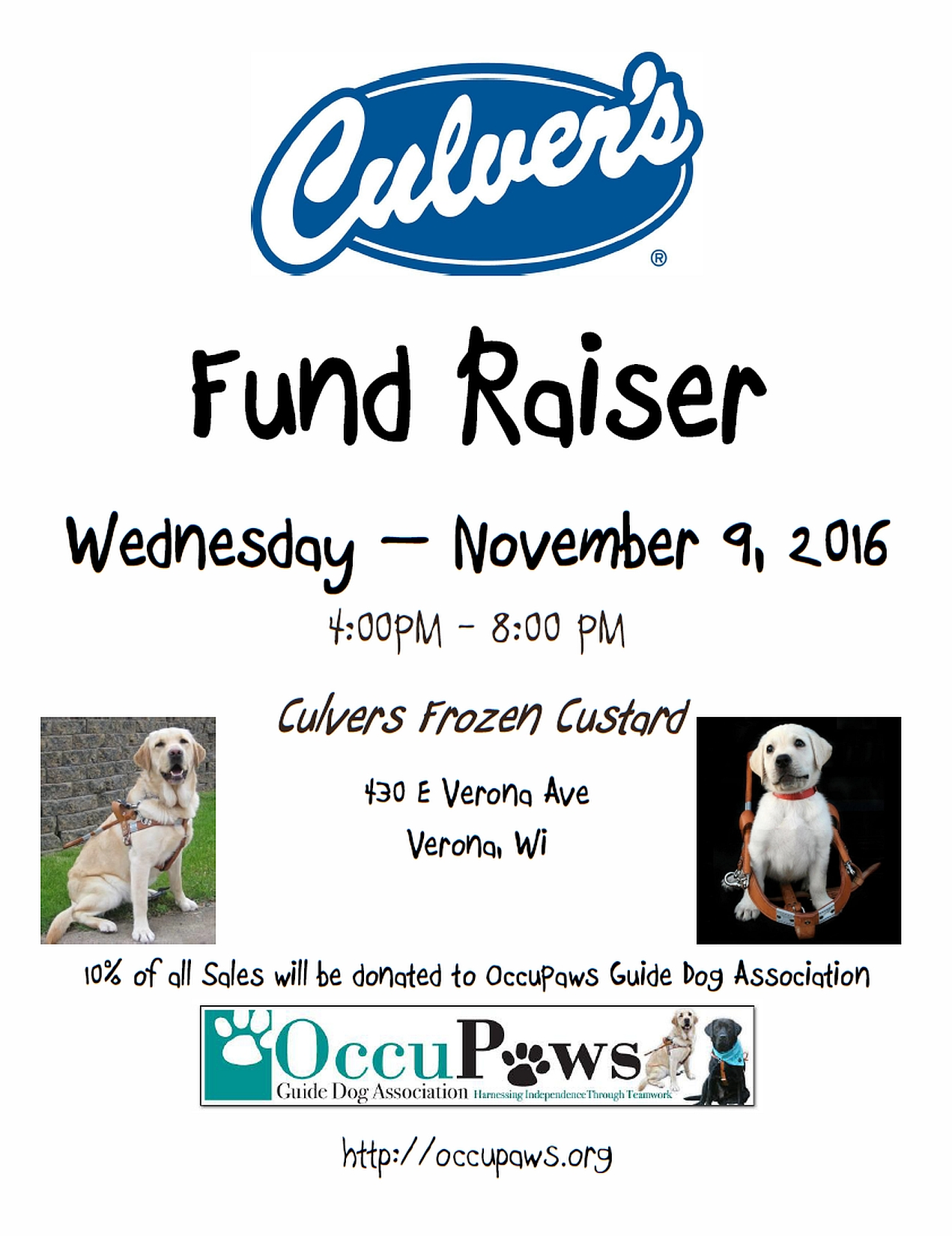 Culvers Share Day for OccuPaws @ Culver's Frozen Custard | Verona | Wisconsin | United States